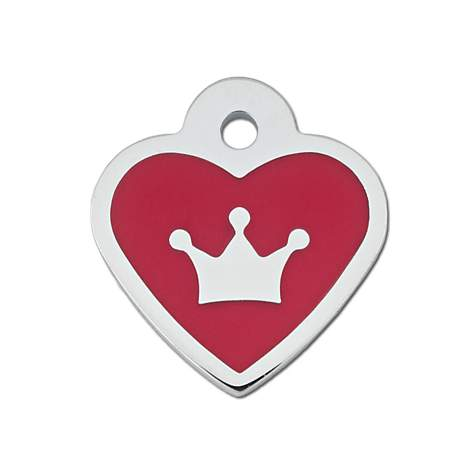 Quick-Tag Small Epoxy Red Heart Personalized Engraved Pet ID Tag