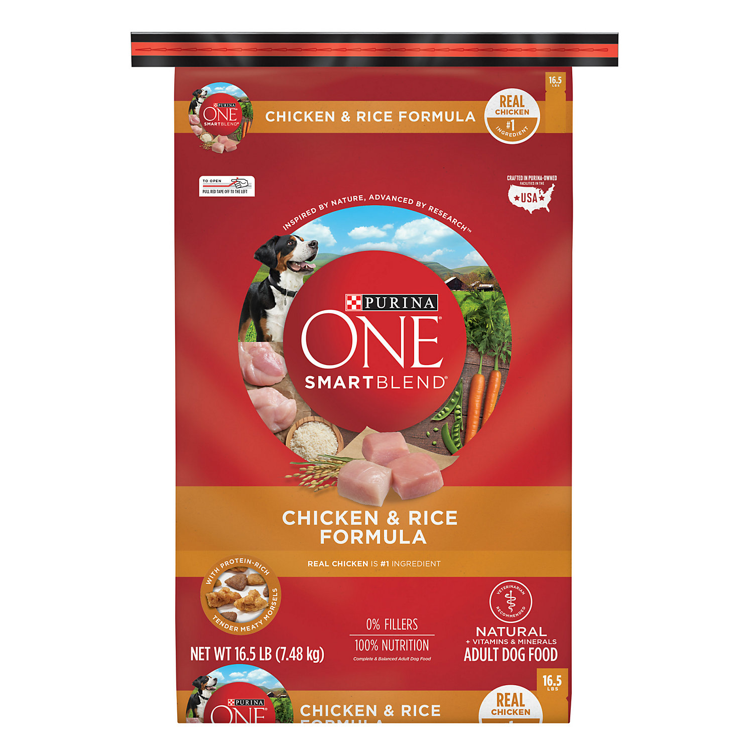 Purina One Smartblend Chicken Rice Formula Adult Premium Dog Food 16.5 Lb.