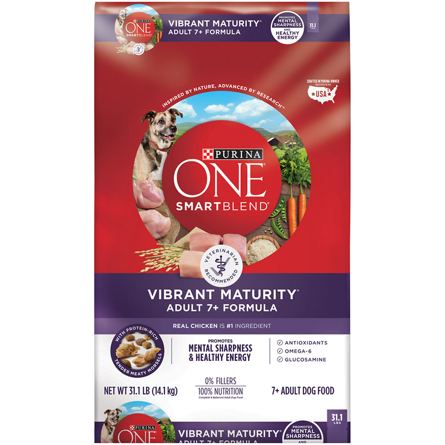 Purina One Smartblend Vibrant Maturity 7 Senior Formula Dog Food 31.1 Lbs.
