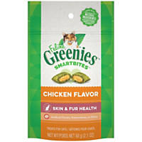 Feline Greenies Smartbites Healthy Skin and Fur Chicken Flavor, 2.1 oz.