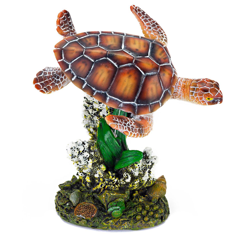 Penn Plax Sea Turtle Small Aquarium Ornament, 3