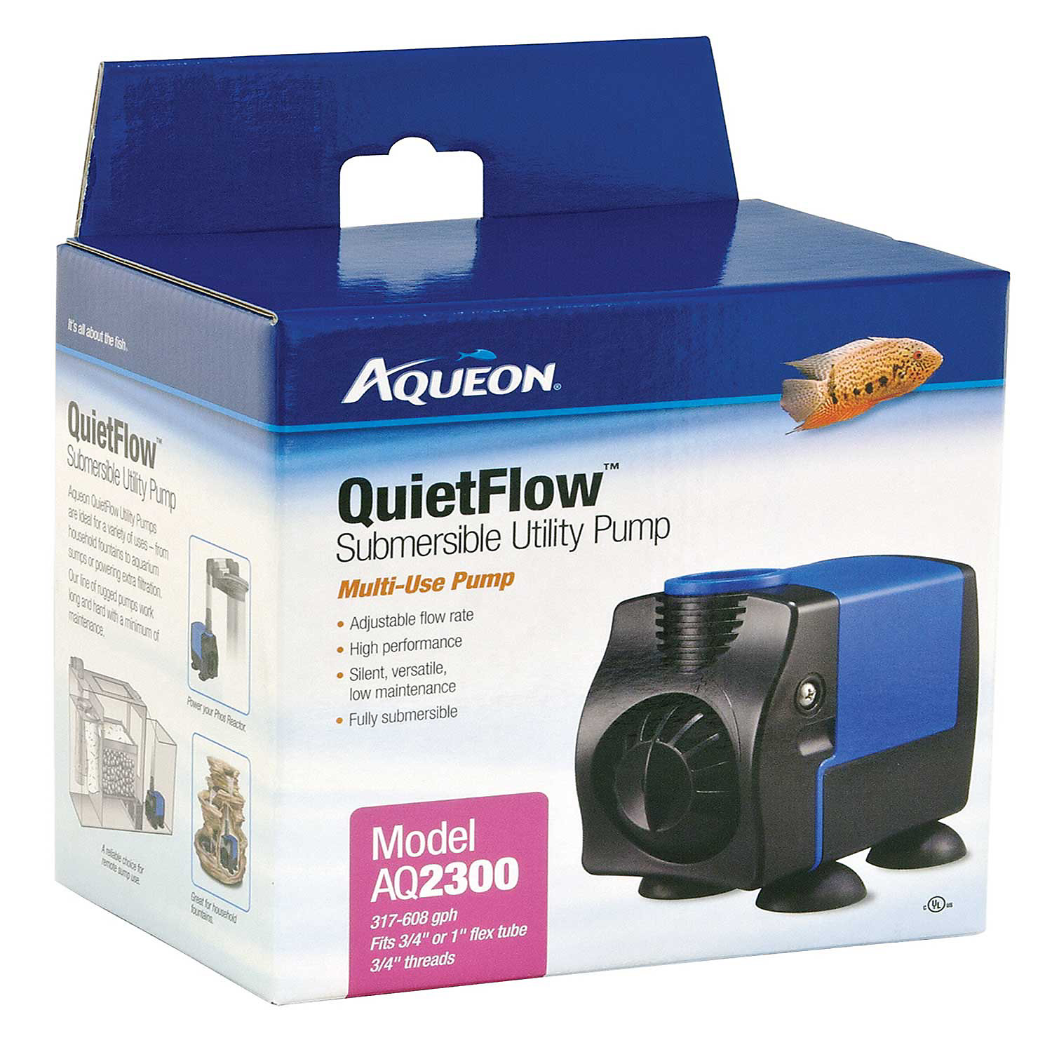 Aqueon Quietflow 1700 Submersible Utility Pump Black / Blue
