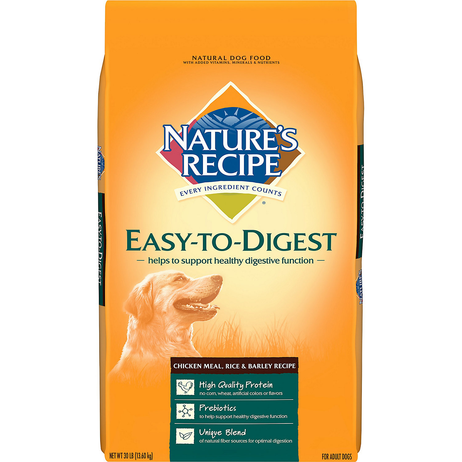 Natures Recipe Easy To Digest Chicken Meal Rice Barley Recipe Dry Dog Food 30 Pound