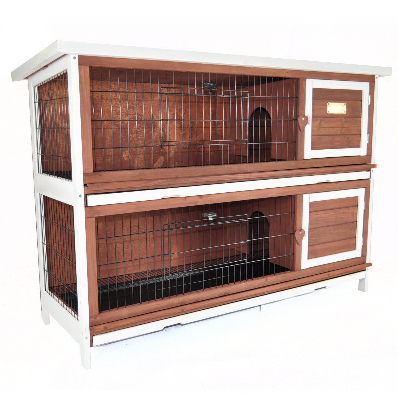 Advantek Duplex Rabbit Hutch in Auburn - Rabbit Hutches: Outdoor & Indoor Rabbit & Bunny Hutches Petco