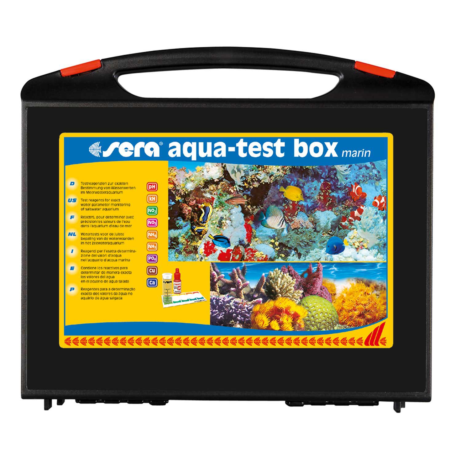 Sera aqua test box marin master test kit for saltwater for Saltwater fish tank kit