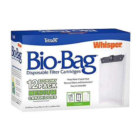 Tetra Whisper Bio Bag Medium Disposable Filter Cartridges For Aquariums 12 Count