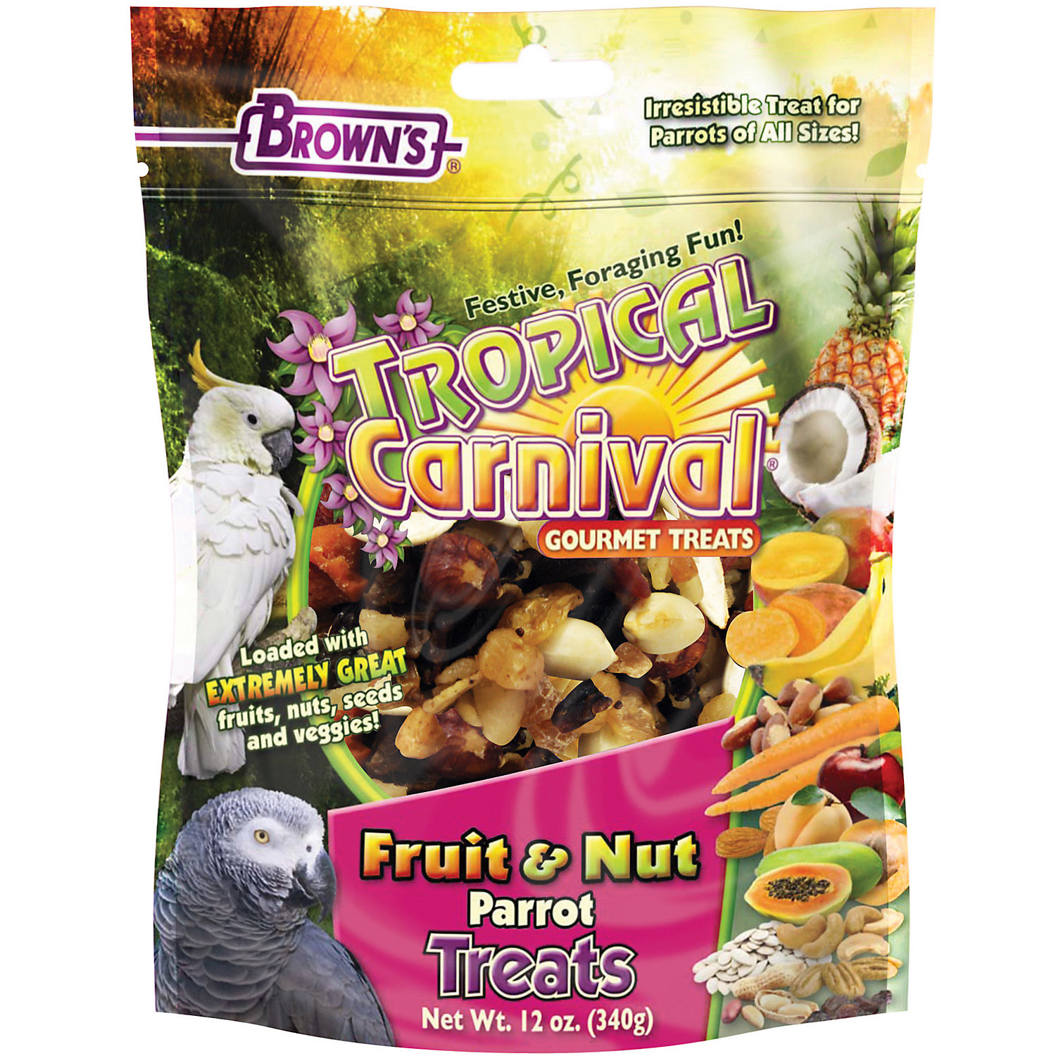 Browns Tropical Carnival Gourmet Parrot Treats 12 Oz.