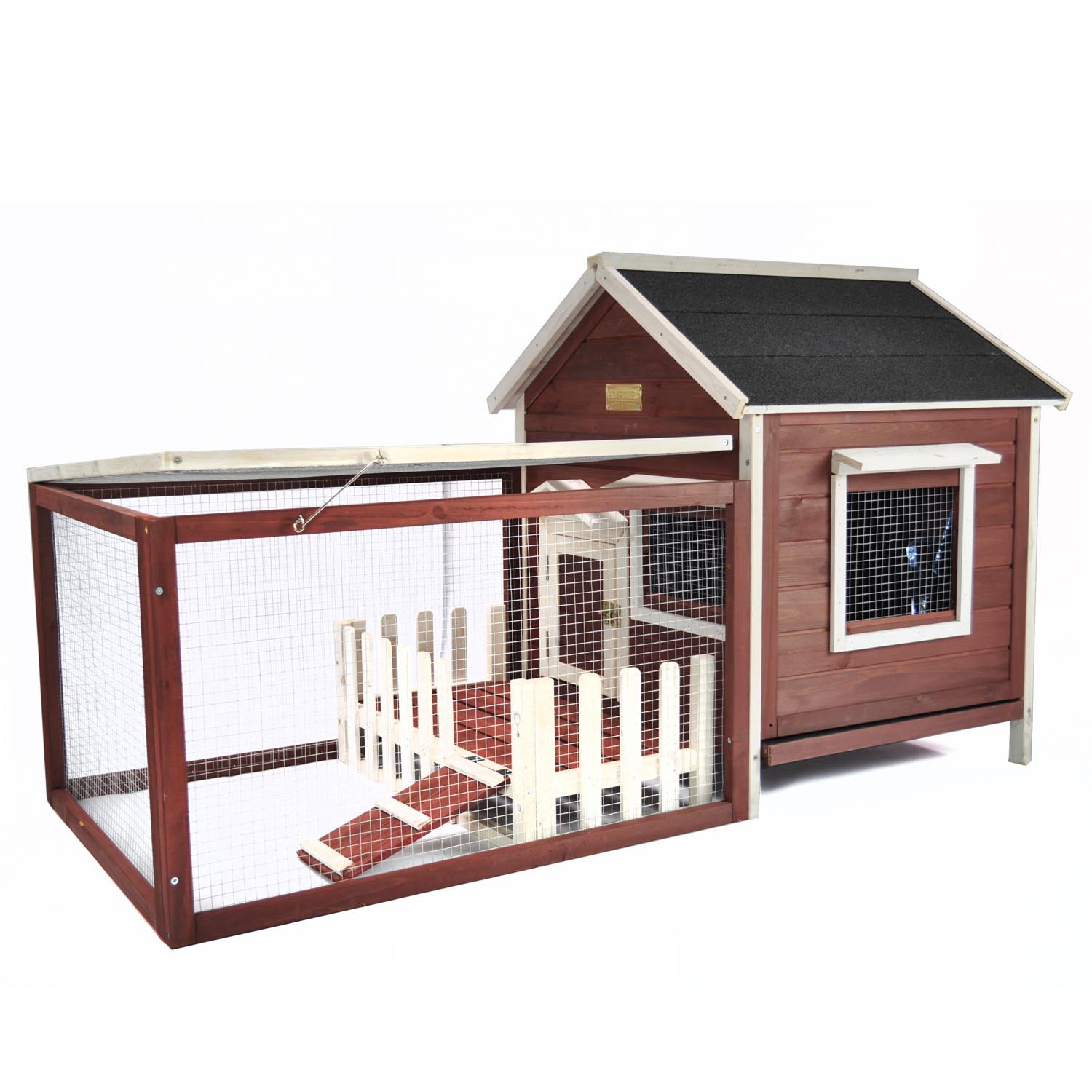 Advantek The White Picket Fence Rabbit Hutch in Auburn & White | Petco