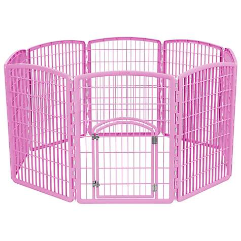 Iris Pink Eight Panel Pet Containment Pen with Door