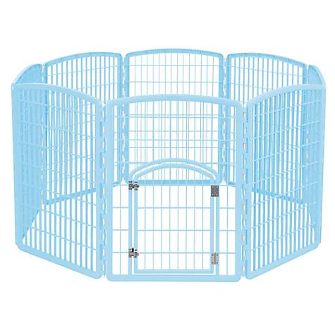 Iris Blue Eight Panel Pet Containment Pen with Door
