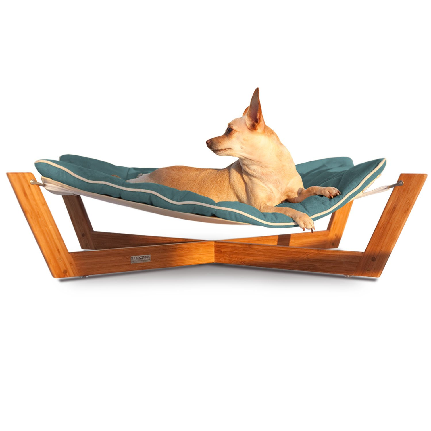 pet lounge studios bambu cross hammock pet bed in blue
