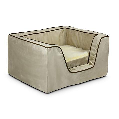 Snoozer Luxury Square Bed with Memory Foam in Buckskin with Java Cording