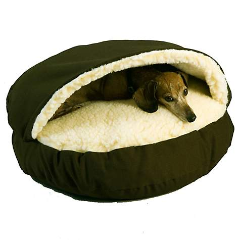 Snoozer Orthopedic Cozy Cave Pet Bed in Olive & Cream