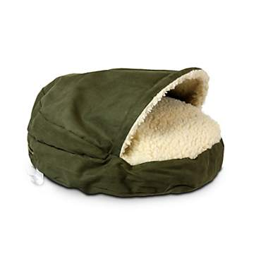 Snoozer Luxury Orthopedic Cozy Cave Pet Bed in Olive & Cream