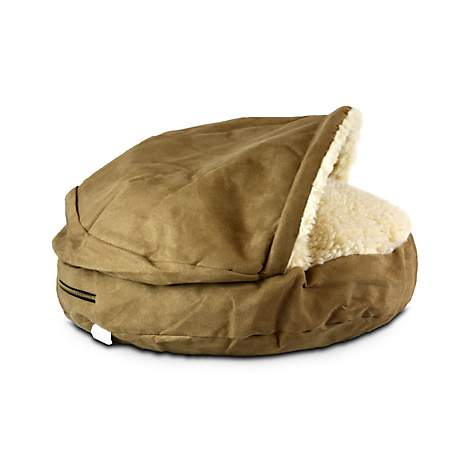 Snoozer Luxury Orthopedic Cozy Cave Pet Bed in Camel & Cream