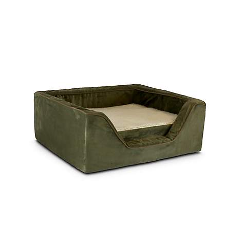 Snoozer Luxury Square Bed with Memory Foam in Olive with Coffee Cording