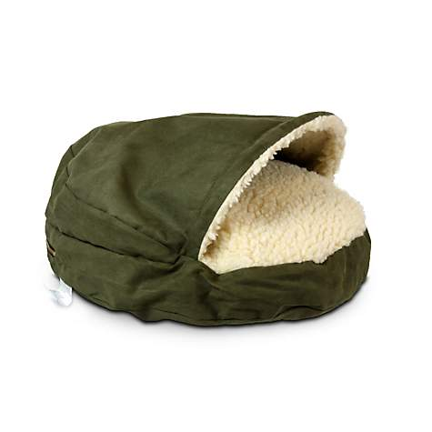 Snoozer Luxury Cozy Cave Pet Bed in Olive & Cream