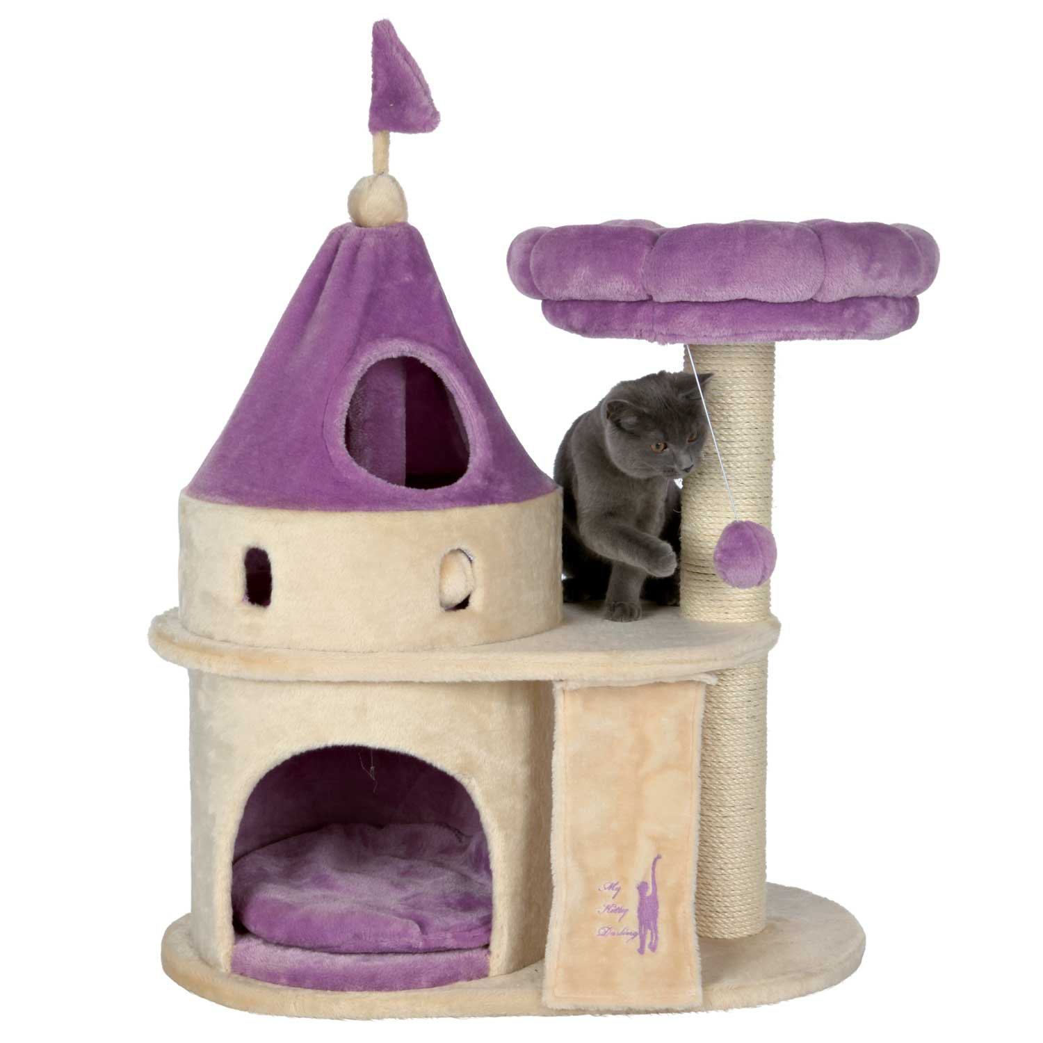 trixie my kitty darling castle in purple & beige | petco
