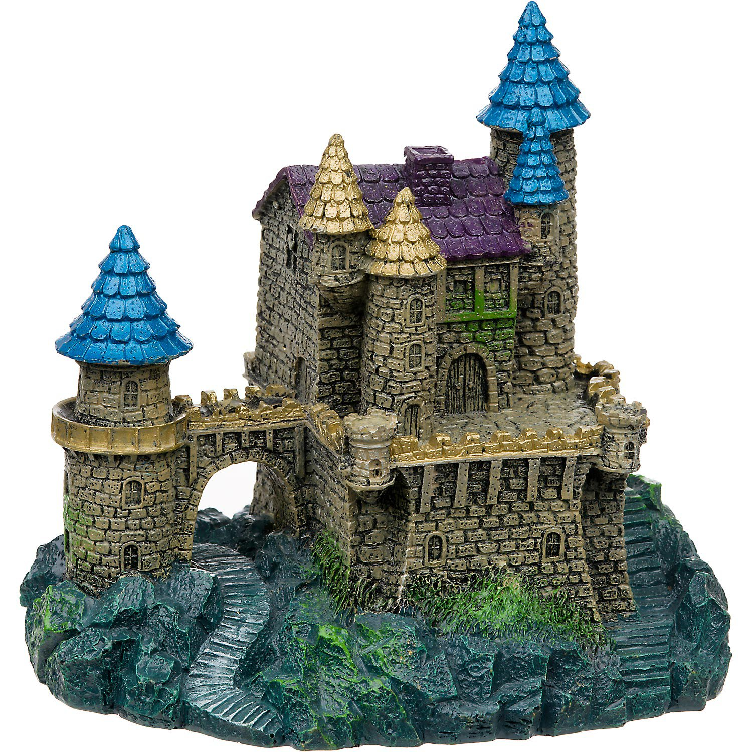 blue ribbon purple & blue roof castle aquarium ornament | petco