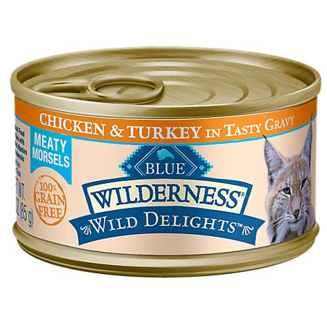 Blue Buffalo Blue Wilderness Wild Delights Meaty Morsels Chicken & Turkey in Gravy Canned Adult Cat Food