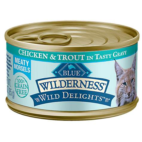Blue Buffalo Blue Wilderness Wild Delights Chicken & Trout Morsels In Gravy Canned Adult Cat Food