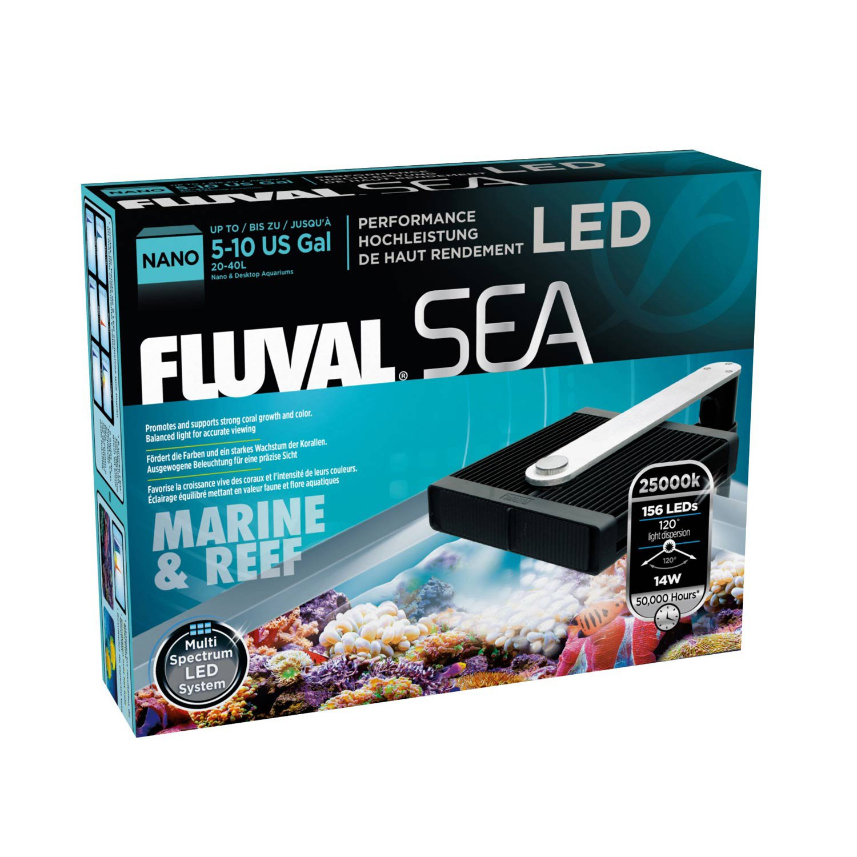 "Fluval Sea Marine & Reef Led Nano Aquarium Lamp, 6"" L X 5.5"" W, 14 W / 6 In, Black"