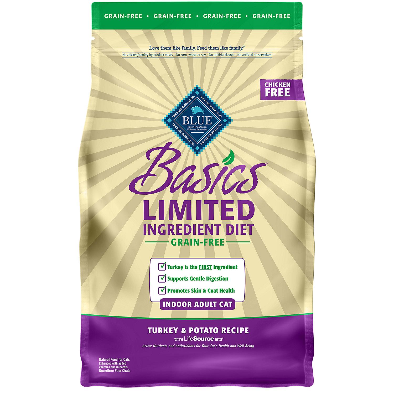 Blue Buffalo Basics Limited Ingredient Grain Free Turkey Potato Indoor Cat Food 5 Lbs.