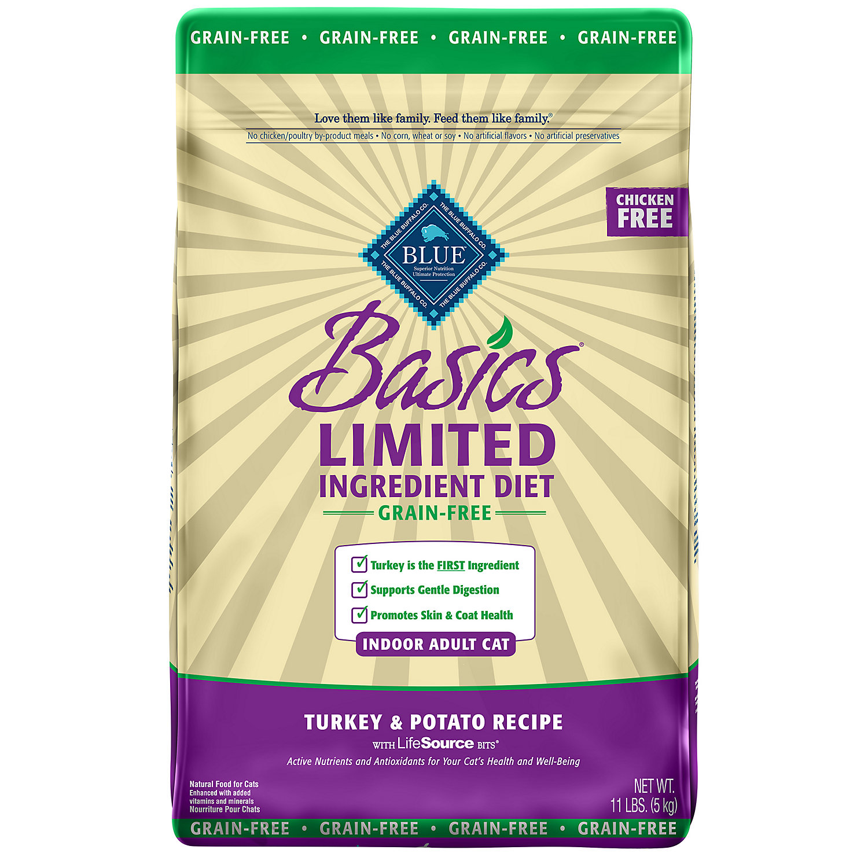 Blue Buffalo Basics Limited Ingredient Grain Free Turkey Potato Indoor Cat Food 11 Lbs.