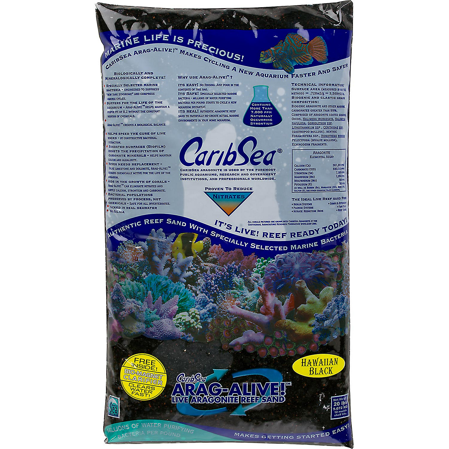 Caribsea Arag Alive Hawaiian Black Aquarium Gravel 20 Lbs.