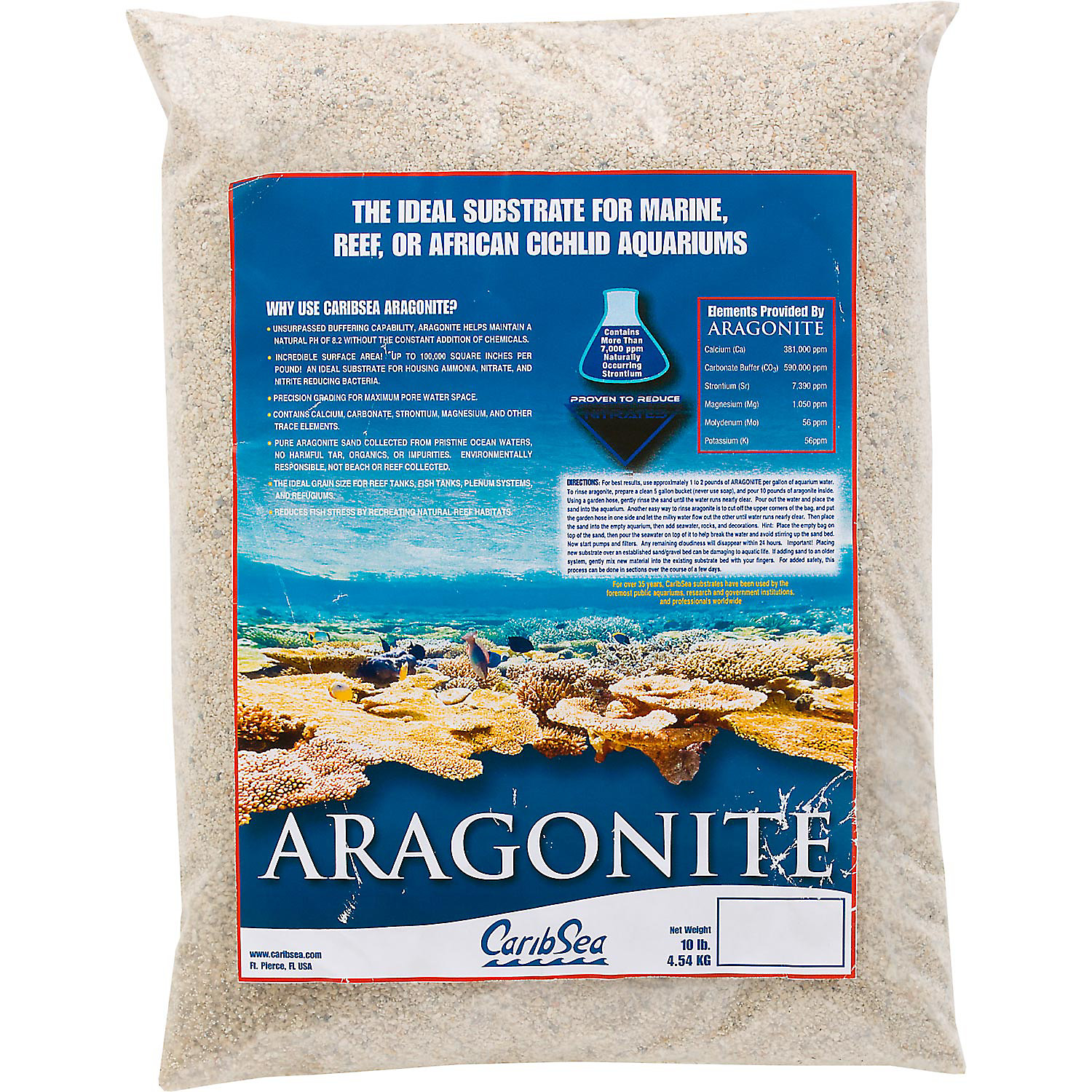 CaribSea Aragonite Aquarium Sand, 10 lbs., Tan