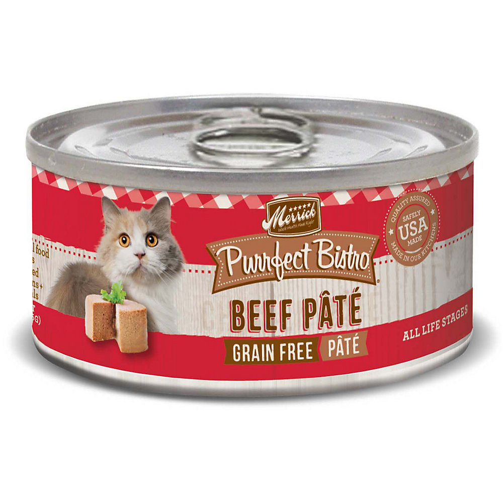 Merrick Purrfect Bistro Grain Free Beef Pate Wet Cat Food, 3 oz., Case of 24