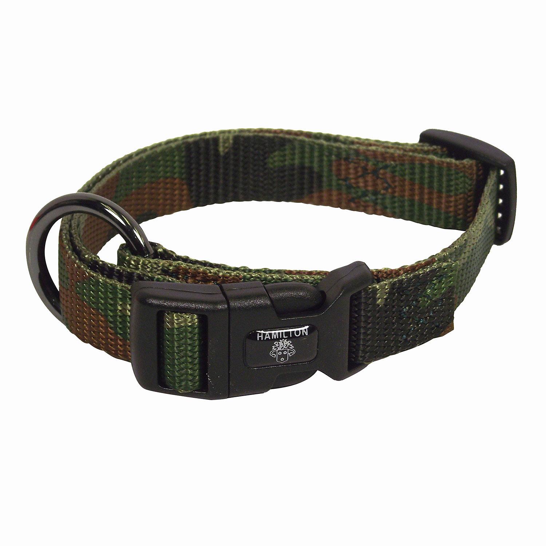Hamilton Adjustable Nylon Dog Collar In Camouflage Print Medium 10 16 L X 3/4 W Brown