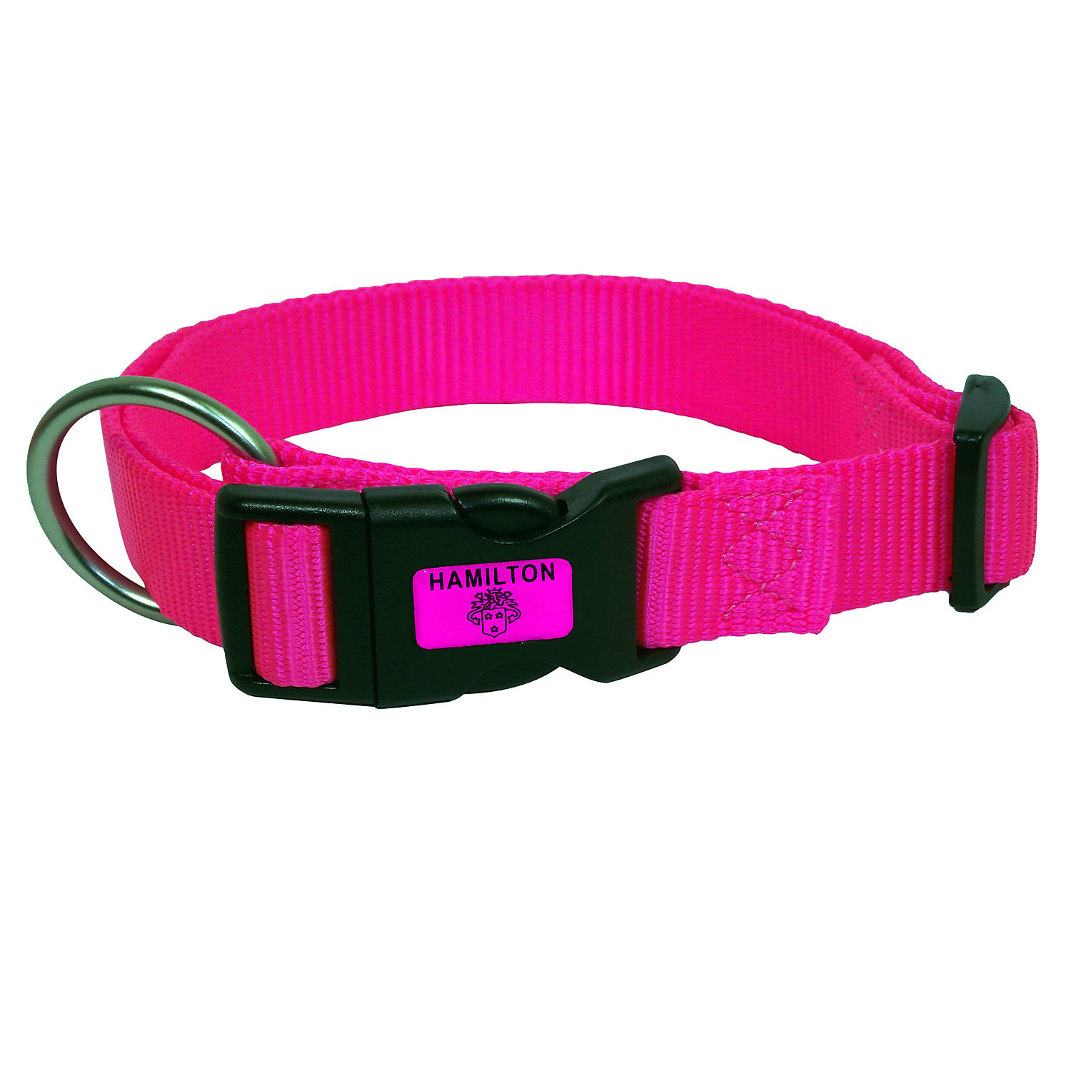 Hamilton Adjustable Nylon Dog Collar In Pink Large 16 26 L X 1 W