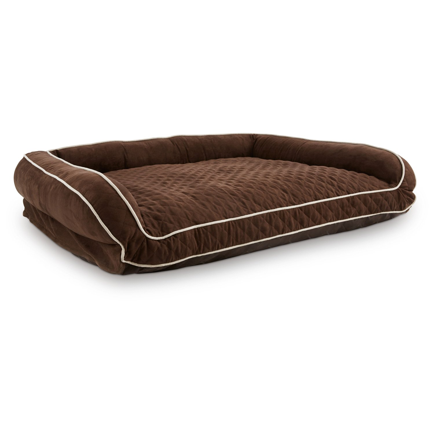 "Memory Foam Brown Couch Dog Bed 48"" L X 36"" W X 10"" H"
