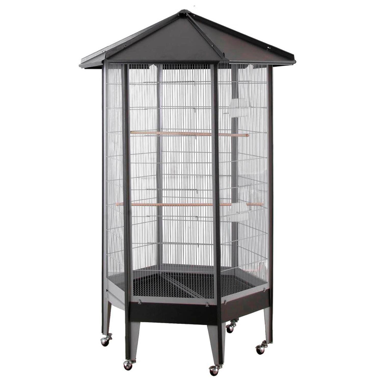 HQ Hexagonal Aviary Bird Cage in Black | Petco