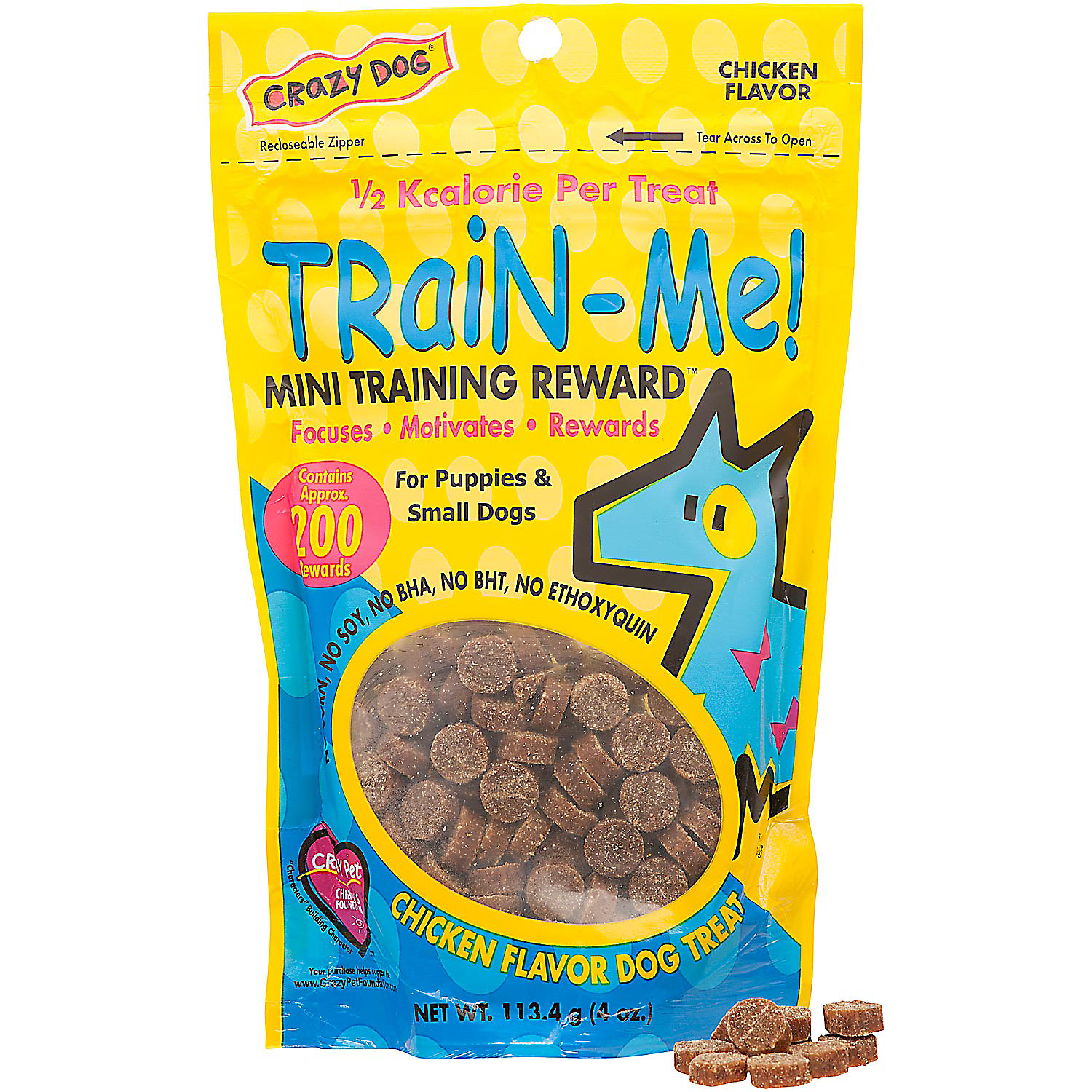 Crazy Dog Train Me Mini Training Reward Chicken Dog Treats 4 Oz Bag 200 Count.
