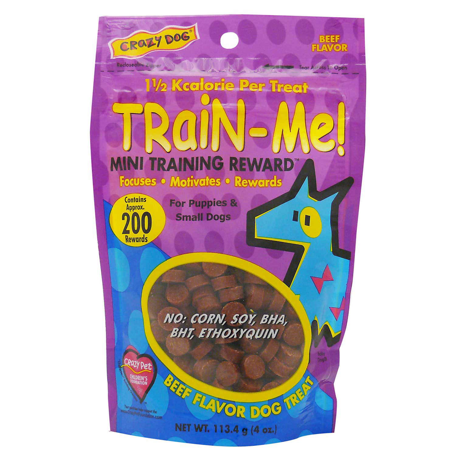 Crazy Dog Train Me Mini Training Reward Beef Dog Treats 4 Oz Bag