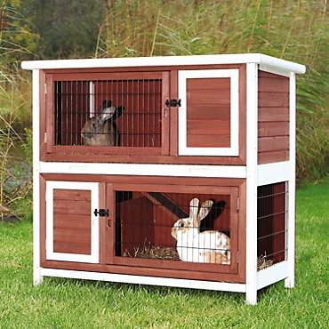 Trixie Natura Two Story Animal Hutch in Brown & White