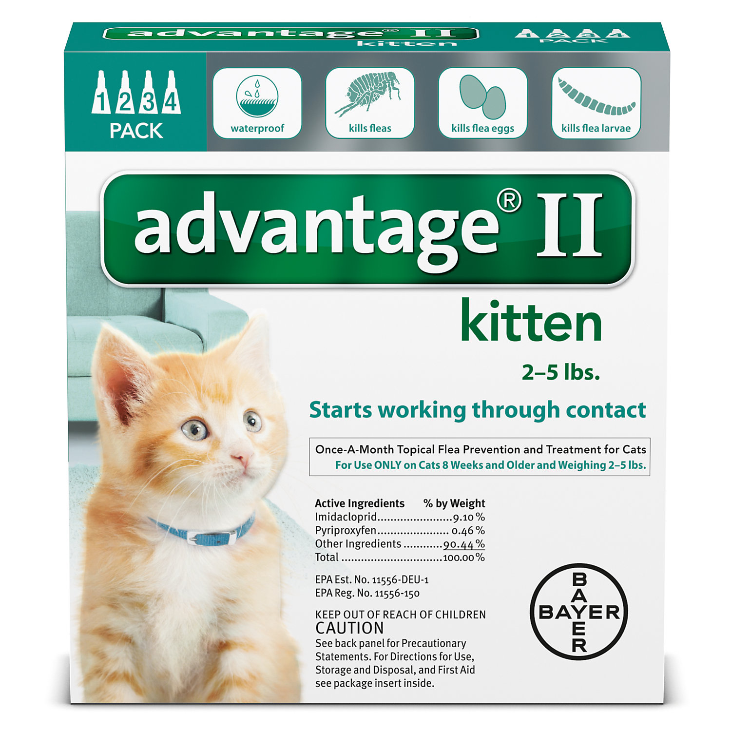 Advantage Ii Once A Month Cat Kitten Topical Flea Treatment 2 5 Lbs.