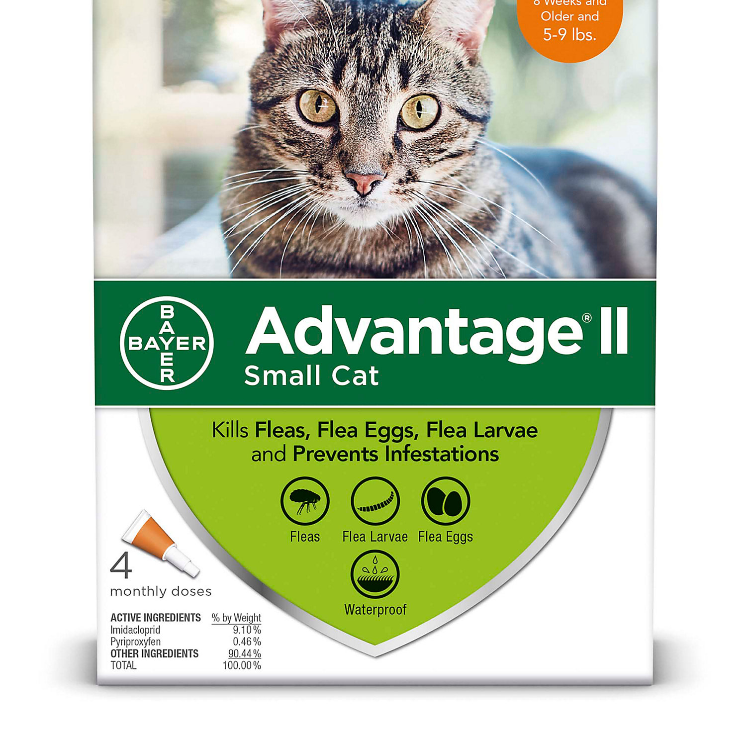Advantage Ii Once A Month Topical Small Cat Flea Treatment 4 Mo. 5 To 9 Lbs.