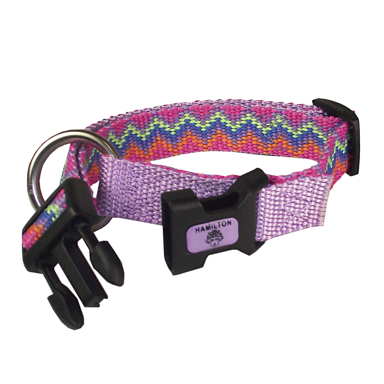 Hamilton Adjustable Nylon Pink Chevron Print Dog Collar Small 8 14 L X 5/8 W