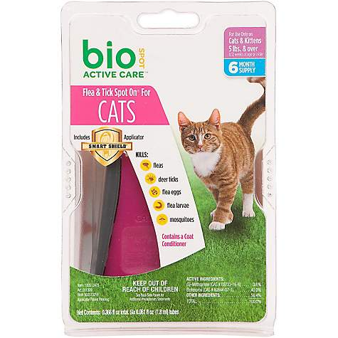 Bio Spot Active Care Flea & Tick Spot On Cat Applicator, For Cats 5 lbs and over