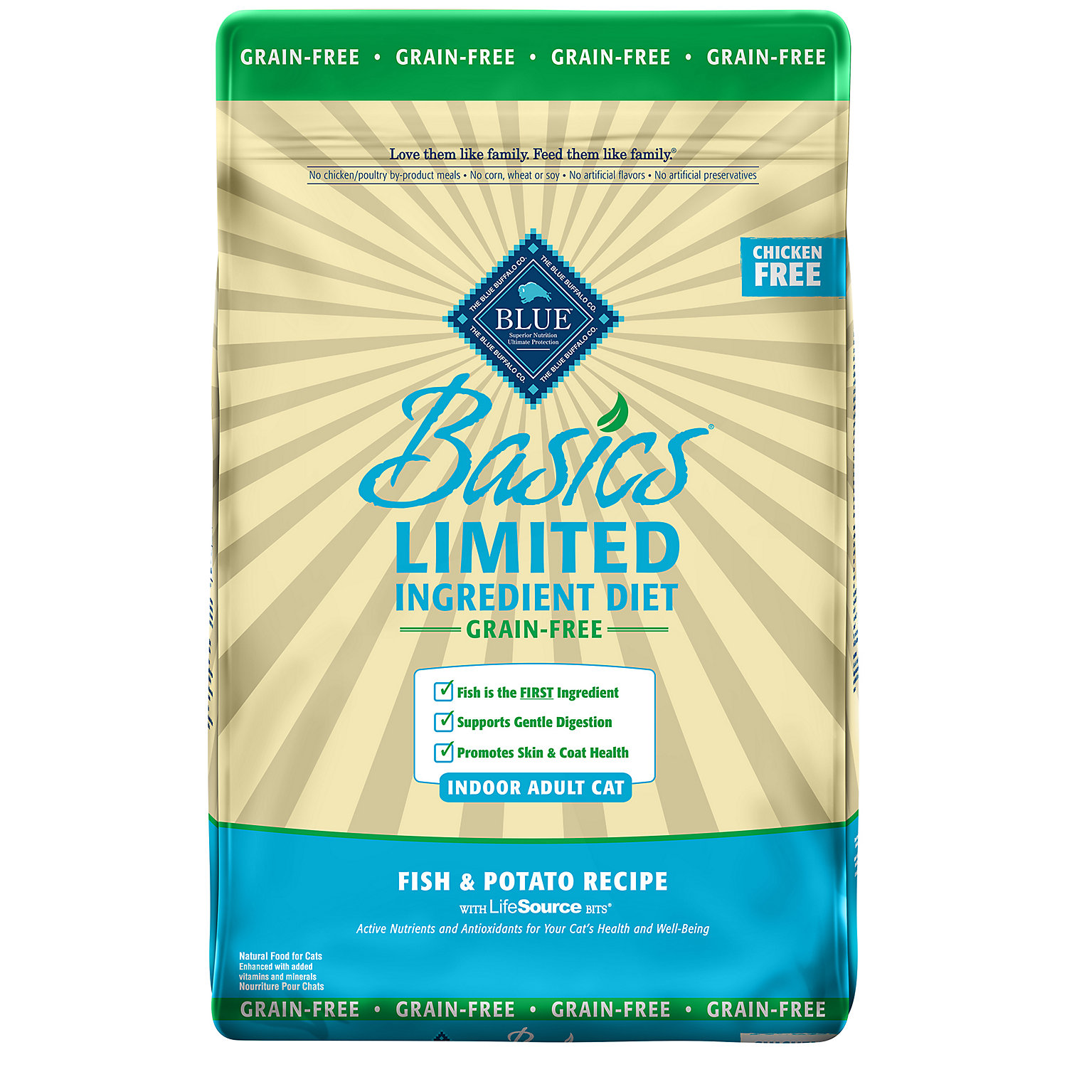 Blue Buffalo Basics Limited Ingredient Grain Free Fish Potato Indoor Cat Food 11 Lbs.