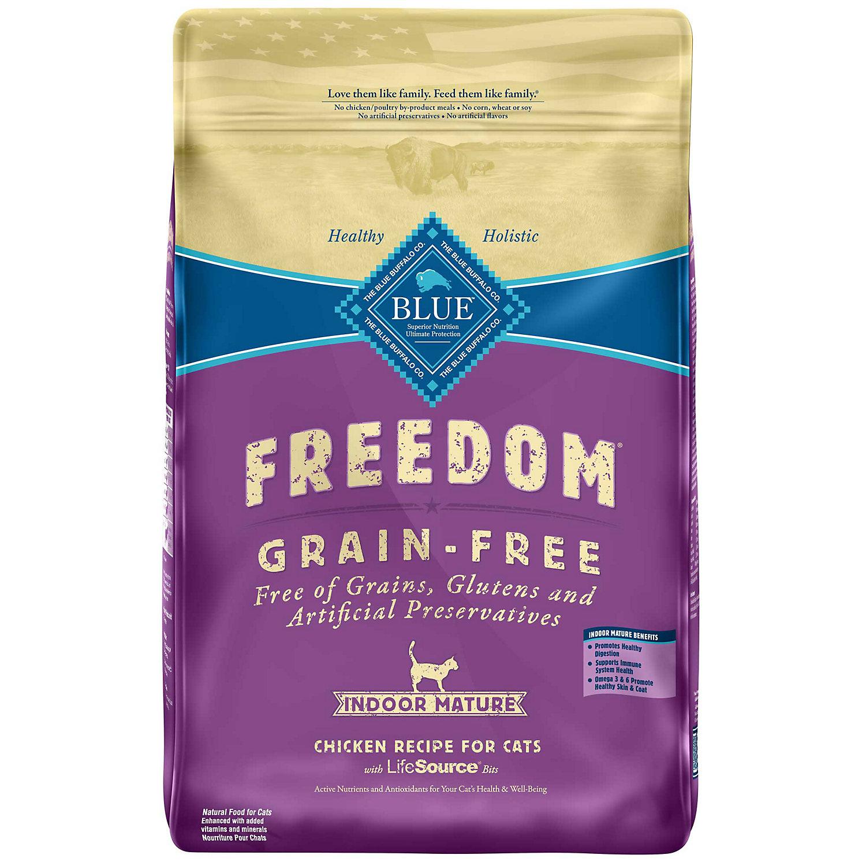 Blue Buffalo Freedom Grain Free Chicken Indoor Mature Cat Food 11 Lbs.