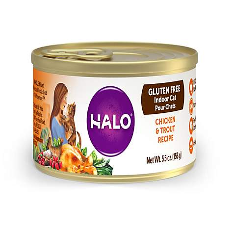 Halo Gluten Free Chicken & Trout Recipe Wet Cat Food