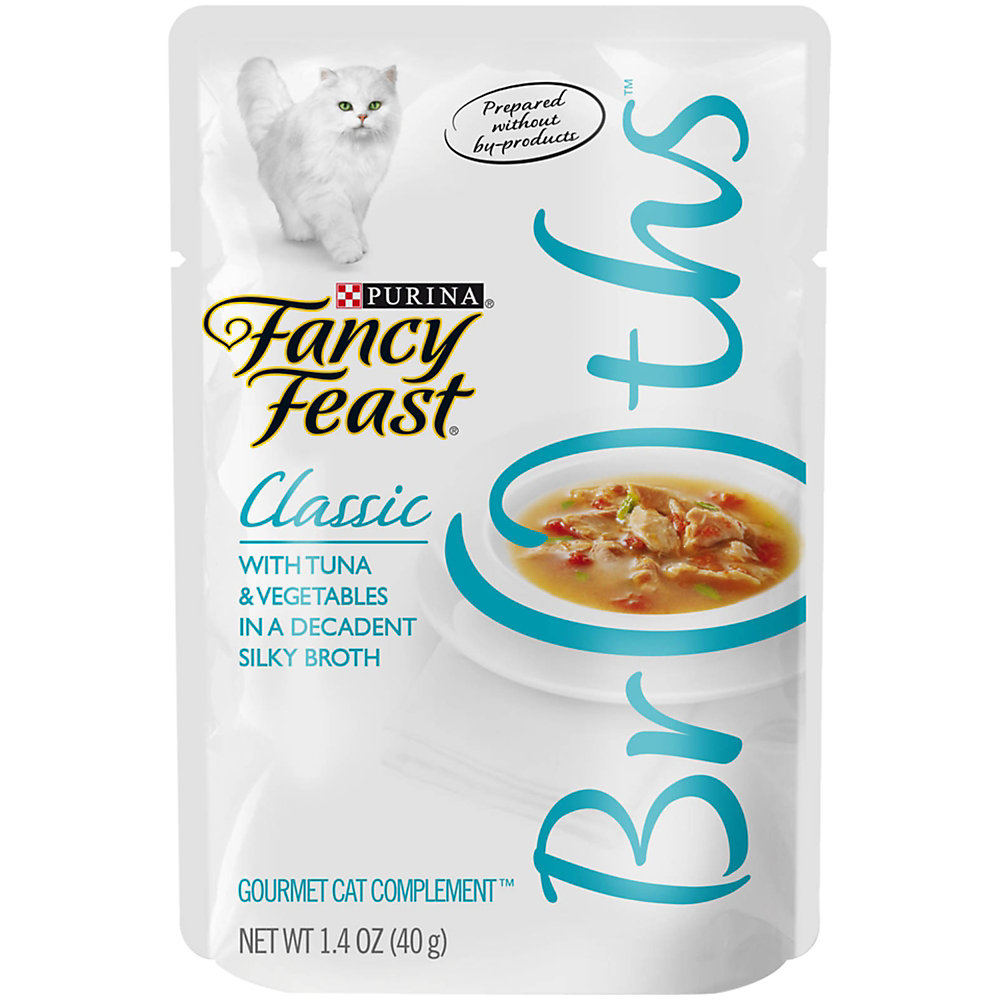 Fancy Feast Broths Classic Tuna & Vegetable Cat Food Complement, 1.4 oz., Case of 16