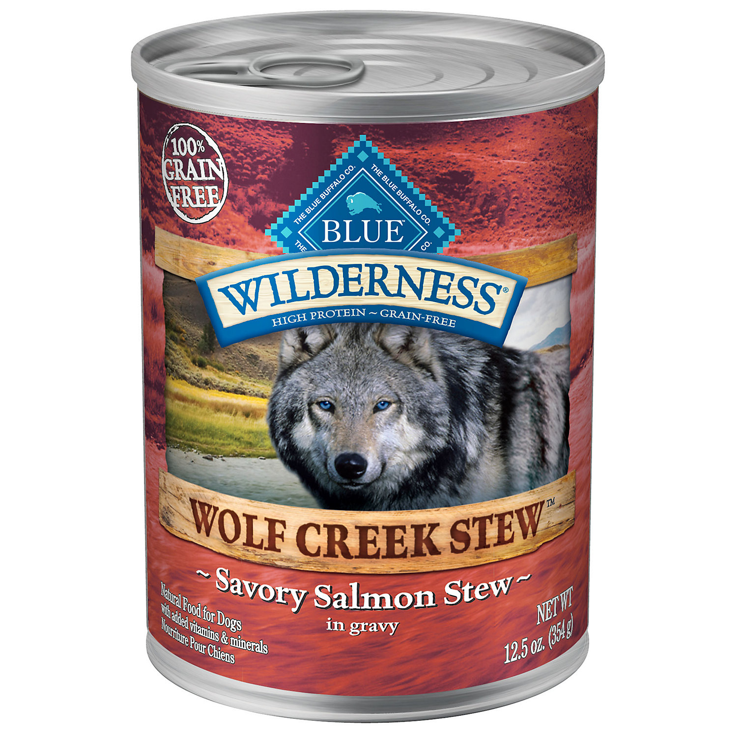 Blue Wilderness Wolf Creek Stew Savory Salmon Stew Canned Food For Adult Dogs 12.5 Oz