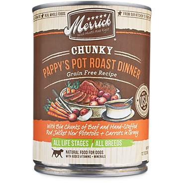 Merrick Chunky Grain Free Pappy's Pot Roast Dinner Wet Dog Food