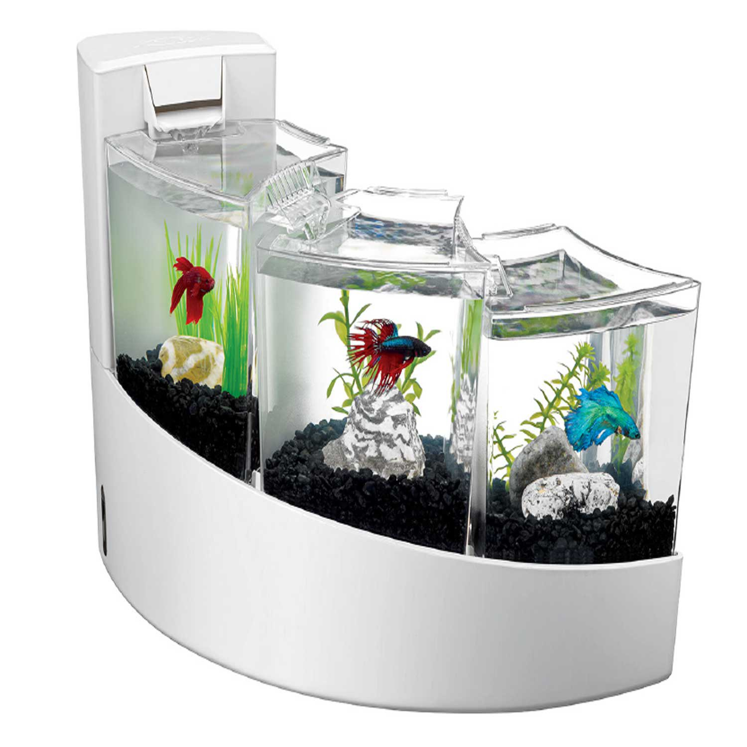 Aqueon betta falls aquarium kit in white petco for Betta fish tank with filter