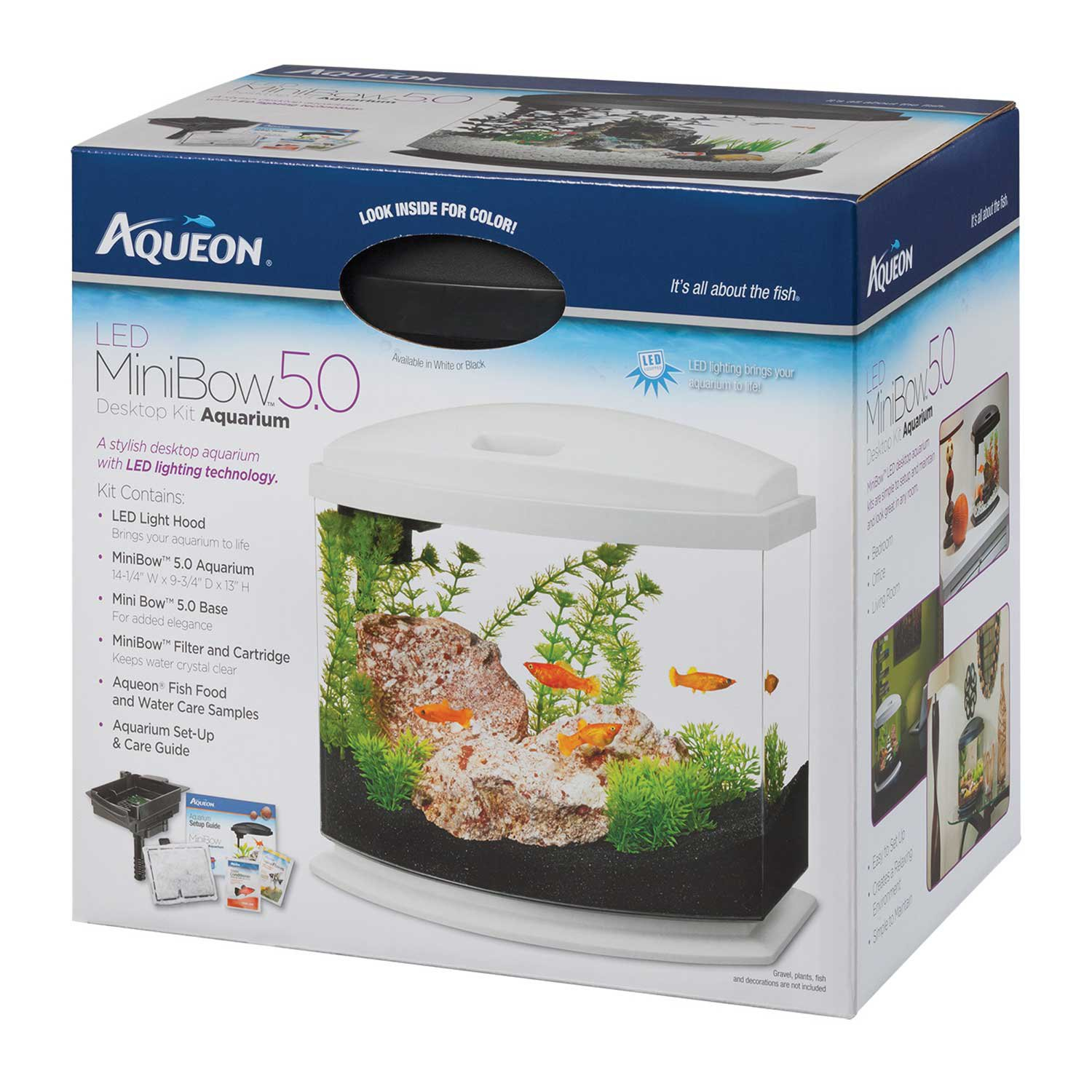Aqueon minibow led desktop fish aquarium kit in white petco for Betta fish tanks petco